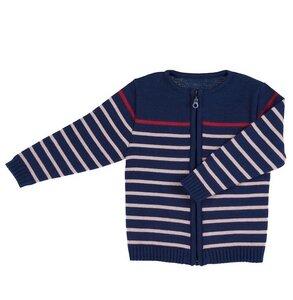 Baby u. Kinder Strickjacke dunkelblau geringelt Bio Baumwolle iobio - iobio