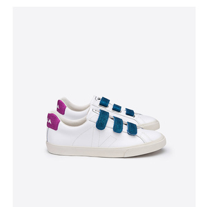 ESPLAR LEATHER 3-LOCKS - WHITE VELCRO NEON PIERRE - Veja
