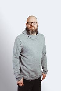 Bio Männer Hoodie 'Heada' grau  / schwarz GOTS - Frija Omina