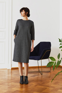 Egg-Shape Kleid aus zart gemusterter Bio-Baumwolle - LUXAA