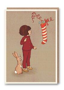 Weihnachtskarte Christmas Stocking - 1973