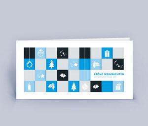 Weihnachtskarten DIN Lang mit modernem Motiv - Quadrate im 10ér Set - Eco-Cards