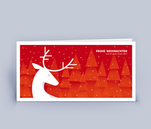 Weihnachtskarten DIN Lang mit edlem Hirsch im 10ér Set - Eco-Cards