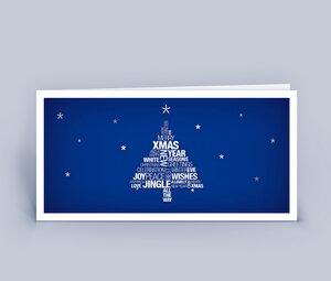 Weihnachtskarten DIN Lang mit Wortwolke Weihnachtsbaum im 10ér Set - Eco-Cards