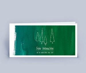 Weihnachtskarten DIN Lang mit stilvollen Bäumen 10ér Set - Eco-Cards