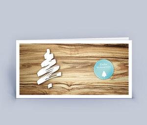 Weihnachtskarten DIN Lang in Holzoptik mit Baum 10ér Set - Eco-Cards
