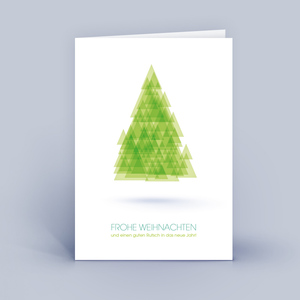 Weihnachtskarten DIN A6 mit Baum aus Dreiecken im 10ér Set - Eco-Cards