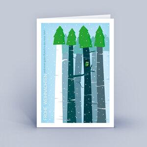Weihnachtskarten DIN A6 - Wald mit Eule - im 10ér Set - Eco-Cards