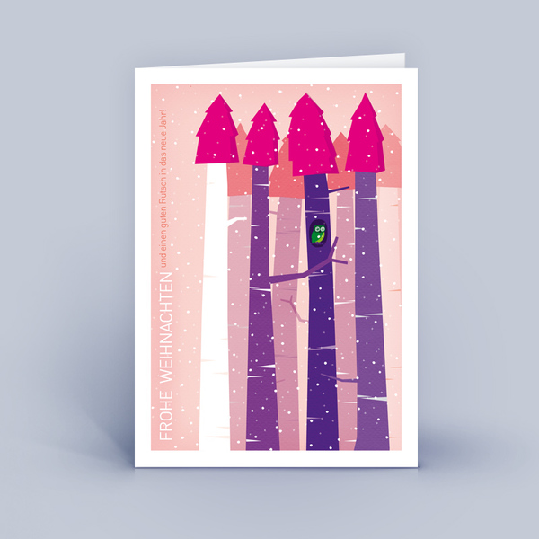 eco cards weihnachtskarten din a6 wald mit eule im. Black Bedroom Furniture Sets. Home Design Ideas