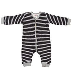 Baby Frottee Strampler anthrazit geringelt Ökologisch People Wear Organic - People Wear Organic