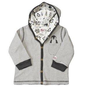 Baby Wendejacke mit Kapuze grau geringelt Bio Baumwolle People Wear Organic - People Wear Organic