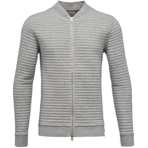 Quilted Zip Cardigan-Grey Melange - KnowledgeCotton Apparel