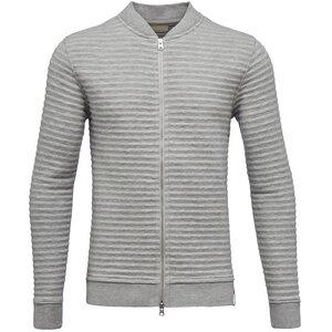 Quilted Zip Cardigan-Grey Melange - KnowledgeCotton Apparel