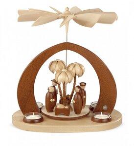 Moderne Bogenpyramide Christi Geburt für 4 Teelichter Erzgebirge - Müller Seiffen
