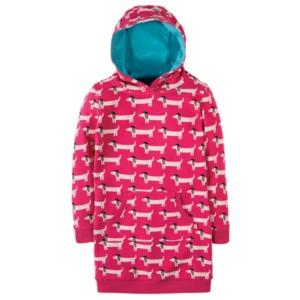 Harriet Hoody dress Hoodykleid dogs Raspberry Beret GOTS - Frugi