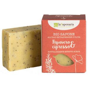 BIO Seife mit Mohn und Zypresse 100g - laSaponaria