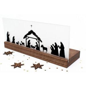 Weihnachtskrippe Bethlehem (Nussbaum) - klotzaufklotz