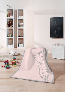 Babydecke und Kinderdecke Lovely & Sweet  Kitty rose 75 x 100 cm  - biederlack