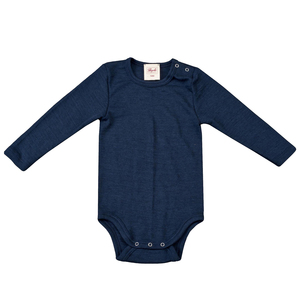 Wolle Seide Langarmbody - dunkel blau  - People Wear Organic