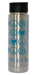 Yoga Vakuum Trinkflasche Edelstahl Love Peace Om 592 ml silber petrol - YogiCompany