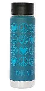 Yoga Vakuum Trinkflasche Edelstahl Love Peace Om 592 ml blau petrol - YogiCompany