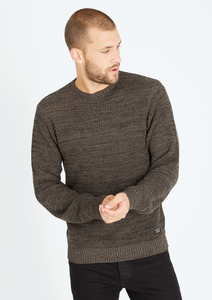 Crew Neck Knit #FLECKED olive grün - recolution