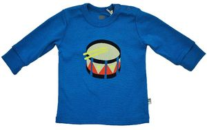 Baby Langarmshirt in blau mit Trommel  - Fred's World by Green Cotton