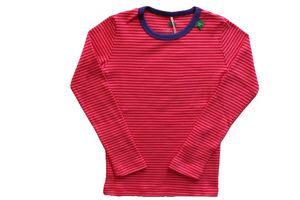 Langarm Shirt pink geringelt aus reiner Bio-Baumwolle. - Fred's World by Green Cotton