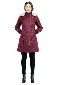 Ladies' Long HoodLamb Coat - Burgundy - Hoodlamb
