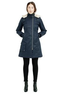 Ladies' Long HoodLamb Coat - Midnite Blue - Hoodlamb