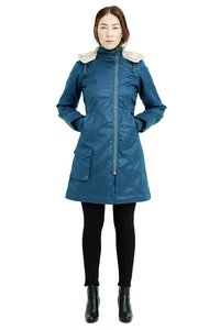 Ladies' Long HoodLamb Coat - Ocean Blue - Hoodlamb