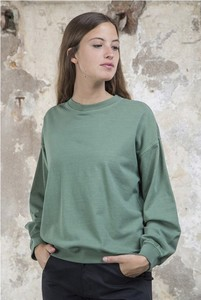 Round Neck Basic Sweat Green  - thinking mu