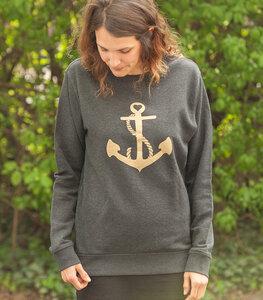 päfjes Goldener Anker Unisex Sweater - Dark Heather Grey - päfjes