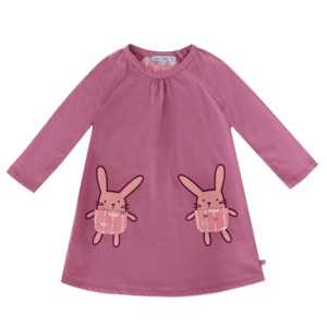 Sweatkleid Hasentaschen magenta GOTS - Enfant Terrible