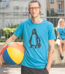 Pinguin Paul - Männer Fair Wear Shirt - Azur - päfjes