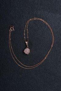 Unikat: zarte Kette mit Rosenquarzkugel - Vintage, Silber mit 18k Roségold plattiert - WearPositive