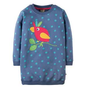 Eloise Jumper dress Blue Lake Pop/Parrot GOTS - Frugi
