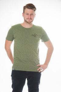 Herren T- Shirt 'Faces' mid heather khaki - ecolodge fashion