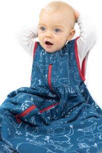 Kipepeo Babyschlafsack Karibu Duniani Petrol/Rot - Kipepeo-Clothing
