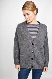 Kelly Grey Oversized Wool Cardigan - bibico