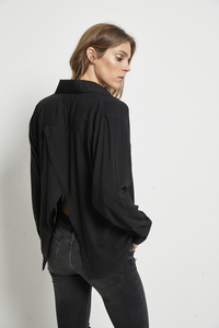 BLOUSE LEYLA SLIT BACK BLACK - Hati-Hati