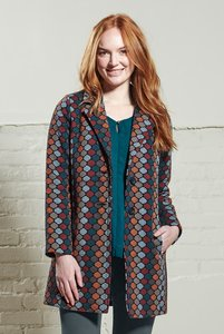 20s Style Coat - Petrol - Nomads Fair Trade Fashion