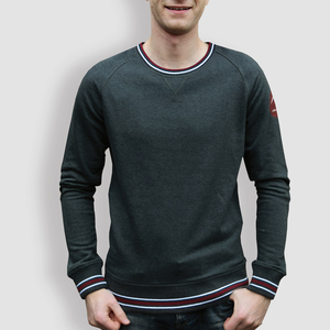 "Herren Sweater, ""Origami"", Grey/White/Burgundy - little kiwi"