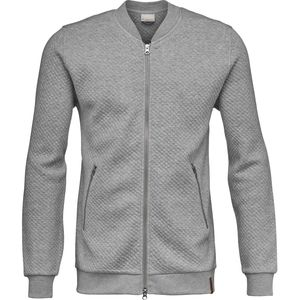 Quilted Zip Cardigan - Grey Melange - KnowledgeCotton Apparel