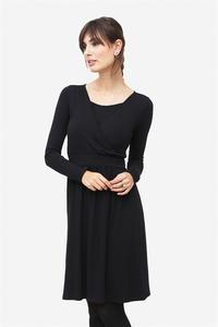 schwarzes langärmliges Umstandskleid und Stillkleid aus Bambus - milker nursing