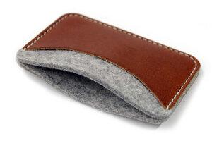 Kartenetui, Kartenmäppchen KESWICK 100% Wollfilz, Leder - Pack & Smooch