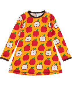 Langarm-Tunika 'Apple' gelb rot mit Retro-Apfel-Print für Mädchen - maxomorra