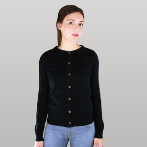 Damen Cardigan in schwarz - Fairtrade & GOTS zertifiziert  - MELAWEAR
