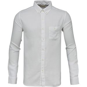 Small checked weaved garment dyed shirt - Bright White - KnowledgeCotton Apparel