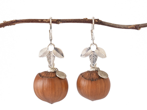 Holzschmuck Pure Haselnuss Ohrringe in Silber | Naturschmuck - Zimelie
